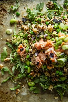 Fresh Mint Quinoa Salad with Edamame, Peas and Smoked Salmon from @heatherchristo