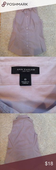 """AT Sleeveless Perfect Shirt Show off your shoulders in this sleeveless Ann Taylor blouse with a light purple and white mini-stripe! Shirt has princess seams in the front and back so fit is close to the body to show off curves. Length from shoulder to hem is 24"""".  Cotton/spandex blend. Ann Taylor Tops Button Down Shirts"""