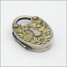 English Victorian Silver & Gold Padlock Locket - J.M.B