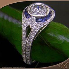 ANTIQUE STYLE FULL BEZEL MOUNTING WITH DIAMONDS & SAPPHIRES