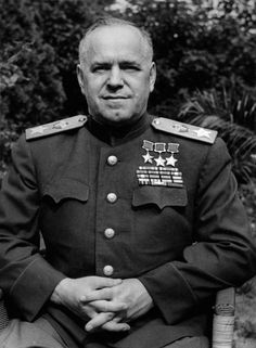 Marshal Georgy Zhukov, father of Soviet victory in WW2, poses for a relaxed outdoor portrait in the summer of 1945. The guns are now silent and the marshal's hair is grey. He entered the war with a full head of black hair.