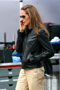 Angelina Jolie on Wanted set