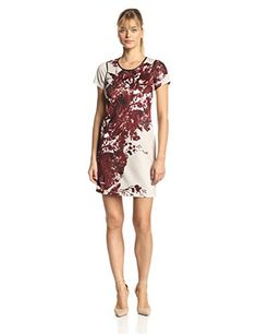 5a1f0e8b Marc New York by Andrew Marc Women's Short Sleeve Floral Printed Shift Dress,  Multi,