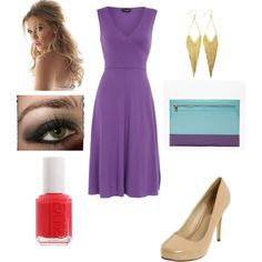 Pretty Spring Outfit - purple dress, nude heels and that lovely clutch.