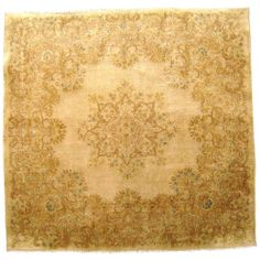 Vintage Persian Kerman Rug in Small Square Size with Ivory Field and Soft Colors | From a unique collection of antique and modern persian rugs at https://www.1stdibs.com/furniture/rugs-carpets/persian-rugs/