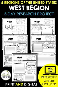 West Region - one of the 5 regions of the United States - is a research project for students in grades 2-4. With this one easy lesson, your students can learn to complete a short research project. Included in this fun resource is a link to the Reference Website created exclusively for this project. The website is kid-friendly and ad-free. When you purchase West Region, you get BOTH print and digital options making it easily compatible with Google Classroom™ and distance learning. Daily Lesson Plan, Lesson Plans, Reference Website, Create Website, Research Projects, Upper Elementary, Google Classroom, Social Studies, Teacher Pay Teachers