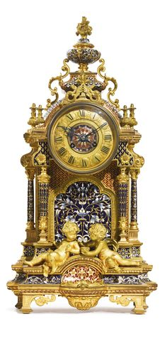 A GILT-BRONZE AND CLOISONNÉ ENAMEL MANTLE CLOCK FRANCE, LATE 19TH CENTURY, RETAILED BY CHAS. W. SCHUMANN, NEW YORK