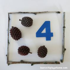 An Invitation to Play and Learn with Numbers and Natural Materials. Great activity for preschool, pre-k or kindergarten to developers number sense and counting. Would be nice activity for nature walk field trip too. Play Based Learning, Learning Through Play, Early Learning, Learning Skills, Preschool Math, Math Classroom, Fun Math, Outdoor Classroom, Preschool Activities
