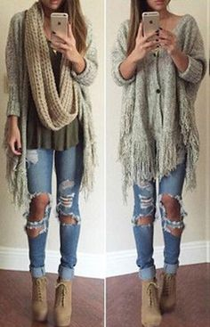 This cardigan's better than anything you would steal from your boy. It features plunging neck, two buttons design and long tassels hem,keeping you warm all the fall. Check more info at CUPSHE.COM  -I just want those shoes
