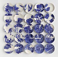 Mosaïques à base d'assiettes en céramique