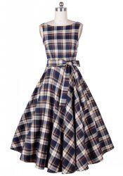 Vintage Scoop Neck Plaid Backless Sleeveless Dress For Women