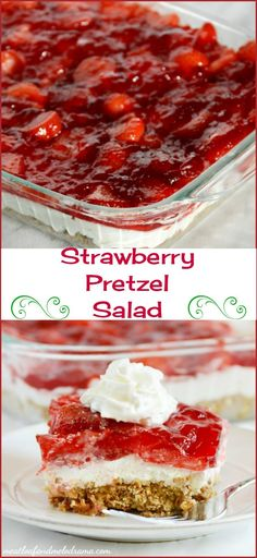 Pretzel Salad Strawberry pretzel salad is a classic retro dish that is perfect for potlucks, showers or any springtime celebration!Strawberry pretzel salad is a classic retro dish that is perfect for potlucks, showers or any springtime celebration! Köstliche Desserts, Summer Desserts, Holiday Desserts, Delicious Desserts, Dessert Recipes, Yummy Food, Desserts For Potluck, Jello Deserts, Picnic Desserts