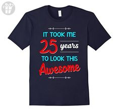 Mens 25th Birthday gift shirt Awesome 25 year old tshirt XL Navy - Birthday shirts (*Amazon Partner-Link)