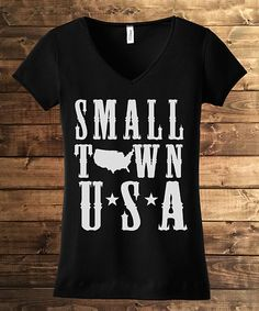 Look what I found on #zulily! Line Liam Black 'Small Town USA' V-Neck Tee by Line Liam #zulilyfinds