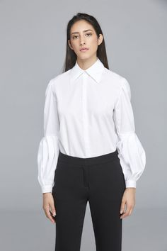 Blusa Katherine Button Up, Button Downs, Manga Raglan, White Blouses, Shirts, Tops, Women, Fashion, Black Sequins