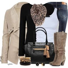 Trench coat Black cardigan White tank top Leopard print scarf Brown boots