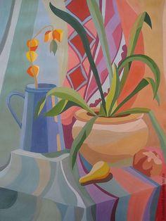 """Купить Декоративный натюрморт """"Физалис"""" - гуашь, натюрморт, подарок, картина для интерьера, картина, рисунок, Живопись"""