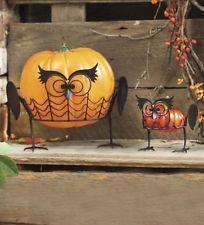 Halloween Owl Pumpkin Holders Set Of 2  Black Metal Indoor/Outdoor Table Porch
