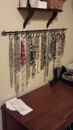 Jewelry organizer-- @Debbie Arruda Arruda Arruda Arruda Dunson we need to make us one of these!!