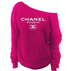 Chanel Paris Off-The-Shoulder Wide Neck Slouchy Sweatshirt