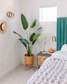 Danah Bedroom Decor - Best Home Decor Finds - Most Realistic Faux Plant - 3 Tips For Improving The A Bedroom Plants Decor, Tropical Bedroom Decor, Tropical Bedrooms, House Plants Decor, Room Ideas Bedroom, Home Decor Bedroom, Diy Home Decor, Tropical Decor, Plant Decor