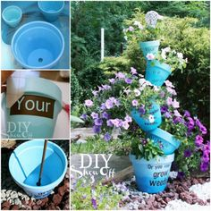 Terra Cotta Clay Pot DIY Project for Your Garden-Ombre Stenciled Flower Pots Terra Cotta Clay Pot Garden Ideas. Terra Cotta Clay Pot DIY Project for Your Garden, Add fun and whimsical flower clay pot arts to beautify your garden in Spring Bird Bath Planter, Diy Bird Bath, Garden Planters, Planter Pots, Balcony Garden, Stacked Flower Pots, Stacked Pots, Clay Pots, Gardening