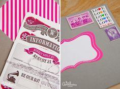 Pink, bright, vintage wedding invitations