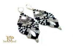 Micro macrame earrings classic black and white very by KatrinPodra