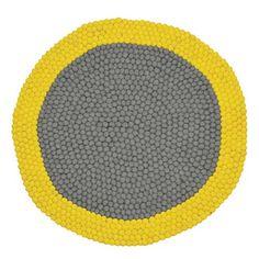 Tapis en laine feutrée rond gris et jaune Neo Mix Yellow
