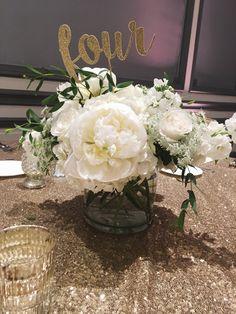 White & Gold Wedding Centerpiece :: The Vines Flower & Garden Shop
