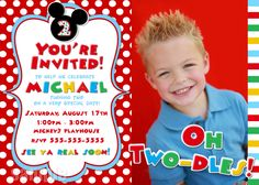 Mickey Mouse Invitation - Red Yellow Black Mickey Mouse Birthday Party Invitations