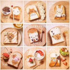 Baking and have fun with Sweets , Let's Bake ! Japanese Bread, Japanese Food, Cute Food, Good Food, Yummy Food, Food Art For Kids, Kawaii Dessert, Cute Desserts, Aesthetic Food