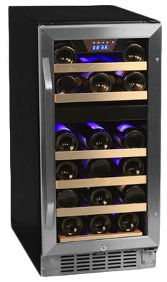 Buy the EdgeStar 26 bottle dual zone wine cooler with stainless steel trim door for storing red and white wines at the perfect temperature. Thermoelectric cooling causes no vibrations for ideal storage. Wine Refrigerator, Wine Fridge, Best Wine Coolers, Built In Wine Cooler, Wine Chiller, Wine Cellars, Gifts For Wine Lovers, In Vino Veritas, Italian Wine