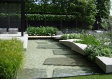 Ulf Nordfjell / Overlooking a stylised water creek, the terrace devides the garden into a sunny, asymmetrical area on one side and a more geometrical, partly shady area on the other. The water feature is dominated by Carex rostrata, a common Swedish water plant together with Carex muskingumensis.