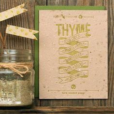 Plantable Handmade Seed Paper Card | Thyme