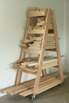 DIY Projects Your Garage Needs -DIY Portable Lumber Rack - Do It Yourself Garage Makeover Ideas Include Storage, Organization, Shelves, and Project Plans for Cool New Garage Decor http://diyjoy.com/diy-projects-garage