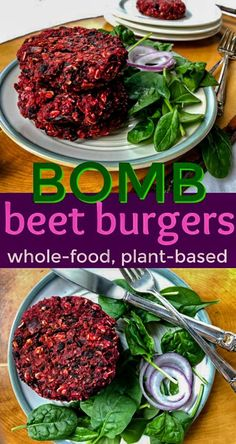 Bomb Beet Burgers Whole Food, Plant-Based Beet Burgers Burger Recipes, Veggie Recipes, Whole Food Recipes, Vegetarian Recipes, Cooking Recipes, Healthy Recipes, Beet Recipes Healthy, Vegetarian Grilling, Healthy Grilling