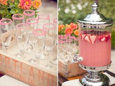 pink sugar rimmed glasses for pink lemonade-- cute baby shower idea! Cocktails, Party Drinks, Tea Party, Strawberry Lemonade, Pink Lemonade, Lemonade Bar, Strawberry Wedding, Strawberry Sweets, Lemonade Stands