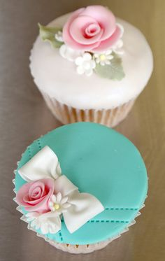 Utterly gorgeous, elegant, artfully lovely shabby chic cupcakes. #aqua #white #turquoise #cupcake #food #baking #cake #dessert #flowers #shabby #chic #wedding #pink