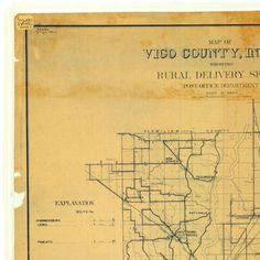 Map of Vigo County Indiana Showing Rural Delivery Service :: Indiana State Library Map Collection
