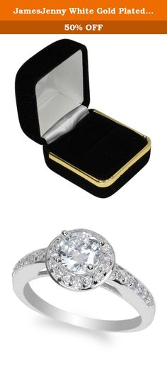 JamesJenny White Gold Plated 0.7 ct Round CZ Fashion Halo Ring Size 4.5. Comes with a jewelry box. This beautiful and fancy ring by jamesjenny is crafted with care to provide the best quality possible. Jamesjenny uses the best materials to make our products more shiny and durable for our customers. We care each and every customer to provide 100% satisfaction.