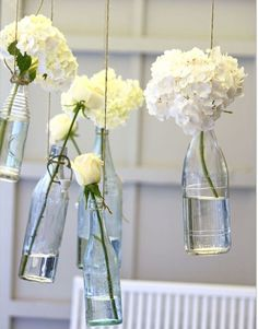 Elegant White Flowers Clear Glass Bottles