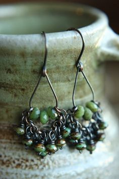 RESERVED FOR MARIJKA** Faceted Chrysoprase Focals With a Collection of Picasso Washed Green Czech Glass Rondelles on Oxidized Raw Copper