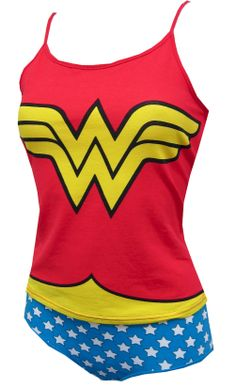 WebUndies.com Wonder Woman Cami & Panty Set    Watch out, evil doers! These 95% cotton/ 5% spandex camisole and panty sets for women resemble Wonder Woman's outfit. The red top has the classic 'W' WonderWoman logo and the panties have white stars on a blue background. If you ever dreamed of being Linda Carter, now's your chance!  $35