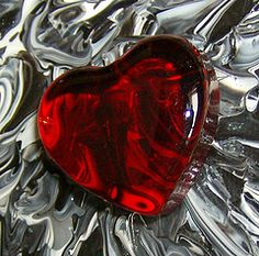 Red Glass Heart... By Artist Unknown...