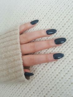 My blue grey almond nails
