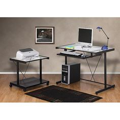 Computer Desk and Printer Cart Value Bundle, Black Metal and Glass - Walmart.com