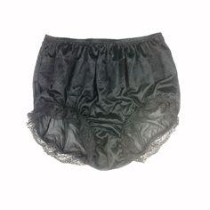 BBE05 Black Granny Briefs Silky Undies Nylon Ladies Men Women Panties Knickers