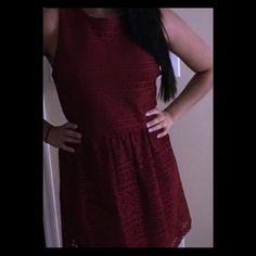 Maroon Crotchet Dress