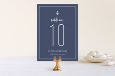Down by the Sea Wedding Table Numbers by Sandra Picco Design at minted.com